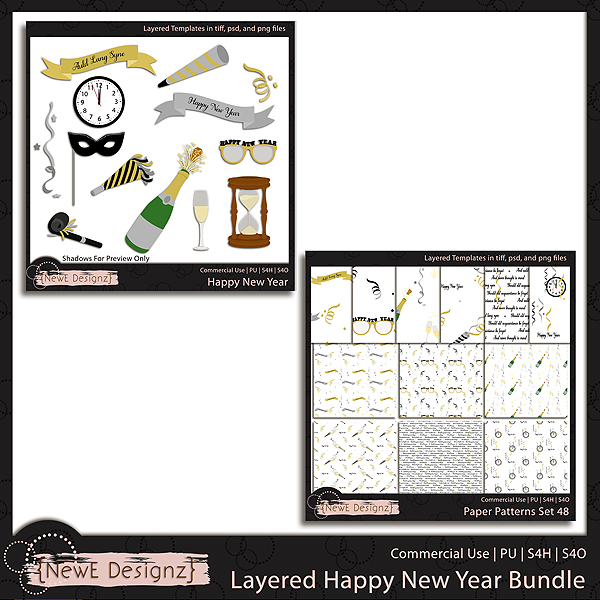 EXCLUSIVE Layered Happy New Year Bundle Templates by NewE Designz