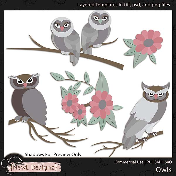 EXCLUSIVE Layered Owls Templates by NewE Designz