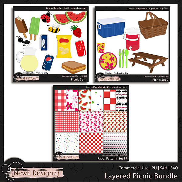 EXCLUSIVE Layered Picnic Templates BUNDLE by NewE Designz