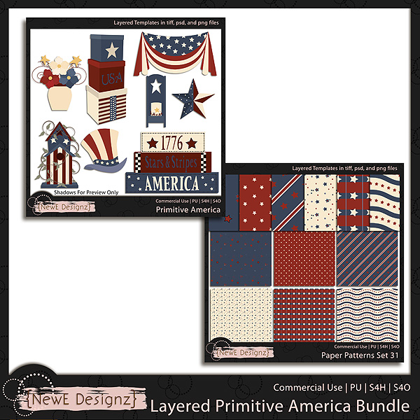 EXCLUSIVE Layered Primitive America Templates BUNDLE by NewE Designz