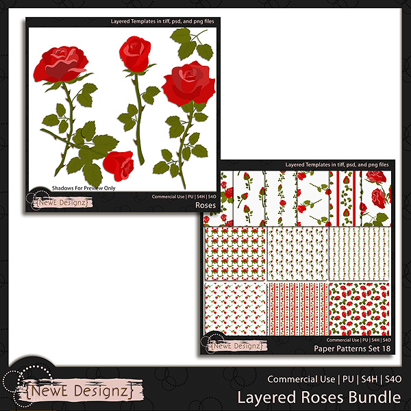 EXCLUSIVE Layered Roses Templates BUNDLE by NewE Designz