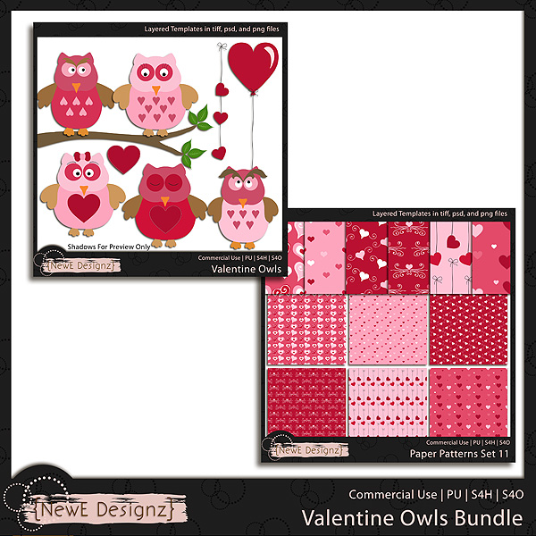 EXCLUSIVE Layered Valentine Owls Templates BUNDLE by NewE Designz