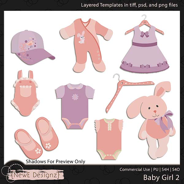 EXCLUSIVE Layered Baby Girl Templates Set 2 by NewE Designz