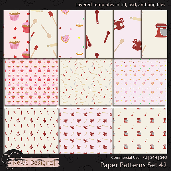 EXCLUSIVE Layered Paper Patterns Templates Set 42 by NewE Designz