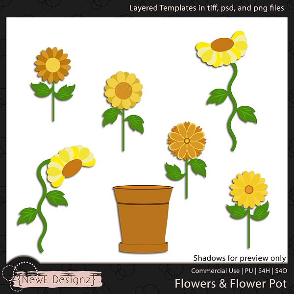 EXCLUSIVE Layered Flowers & Flower Pot Templates by NewE Designz
