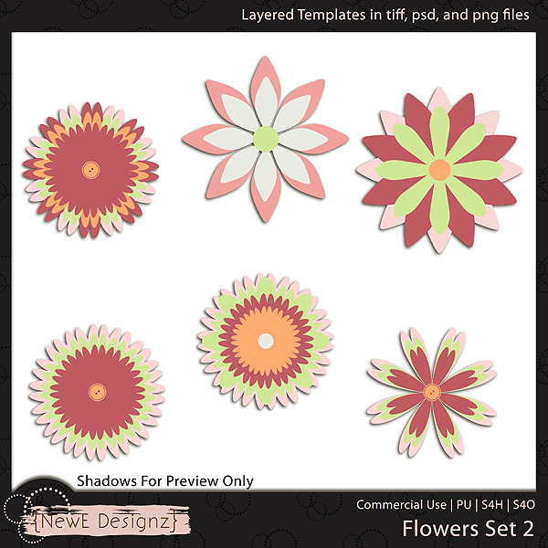 EXCLUSIVE Layered Flower Templates Set 2 by NewE Designz