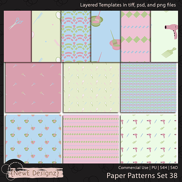 EXCLUSIVE Layered Paper Patterns Templates Set 38 by NewE Designz