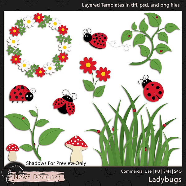 EXCLUSIVE Layered Ladybugs Templates By NewE Designz