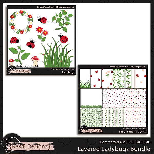 EXCLUSIVE Layered Ladybug Bundle Templates by NewE Designz