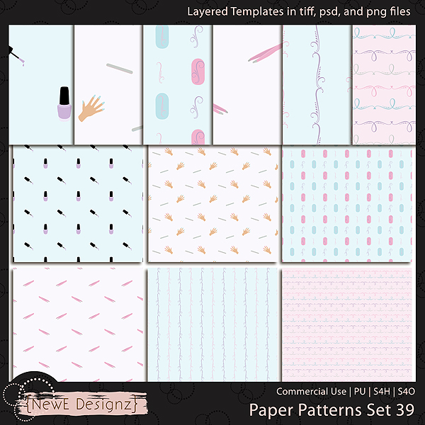 EXCLUSIVE Layered Paper Patterns Templates Set 39 by NewE Designz