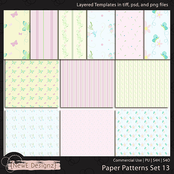 EXCLUSIVE Layered Paper Patterns Templates Set 13 by NewE Designz