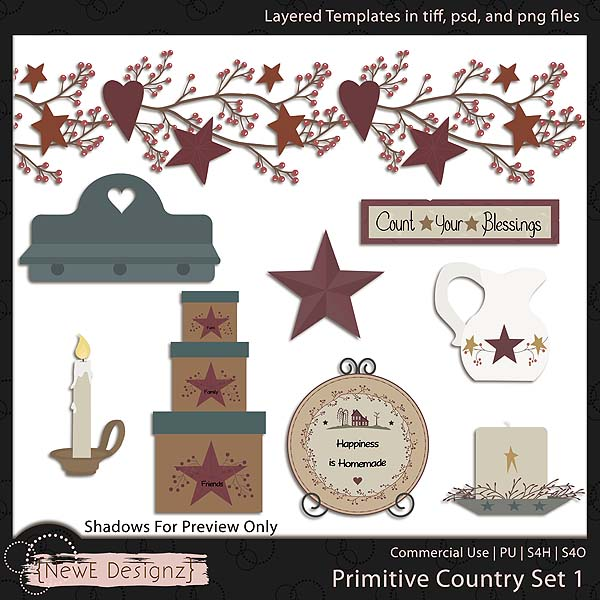 EXCLUSIVE Layered Primitive Country Templates Set 1 by NewE Designz