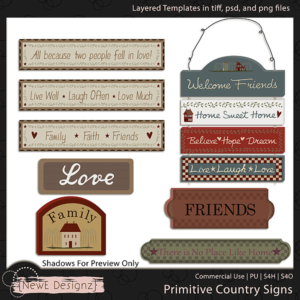 EXCLUSIVE Layered Primitive Country Signs Templates by NewE Designz