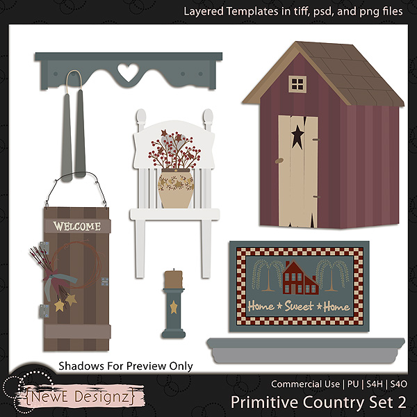 EXCLUSIVE Layered Primitive Country Templates Set 2 by NewE Designz