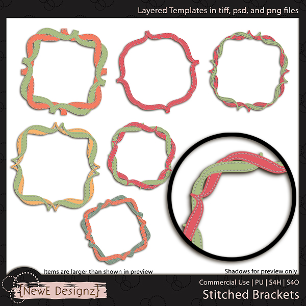 EXCLUSIVE Layered Stitched Brackets Templates by NewE Designz