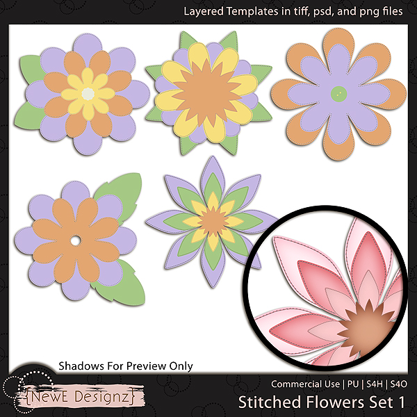 EXCLUSIVE Layered Stitched Flowers Templates by NewE Designz
