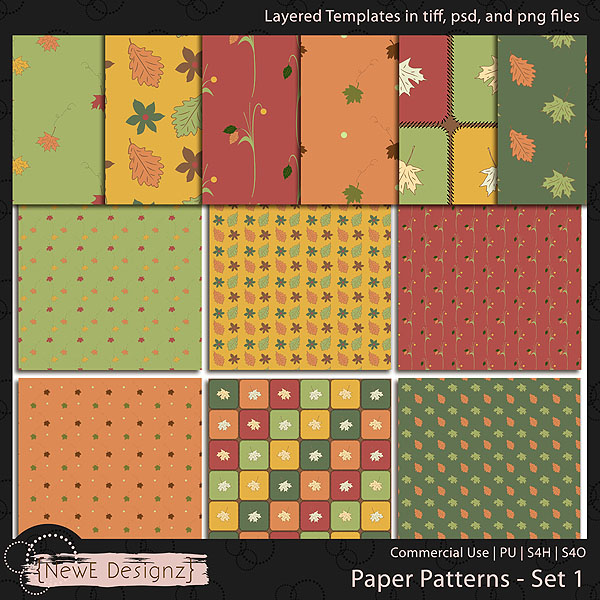 EXCLUSIVE Layered Paper Patterns Templates Set 1 by NewE Designz