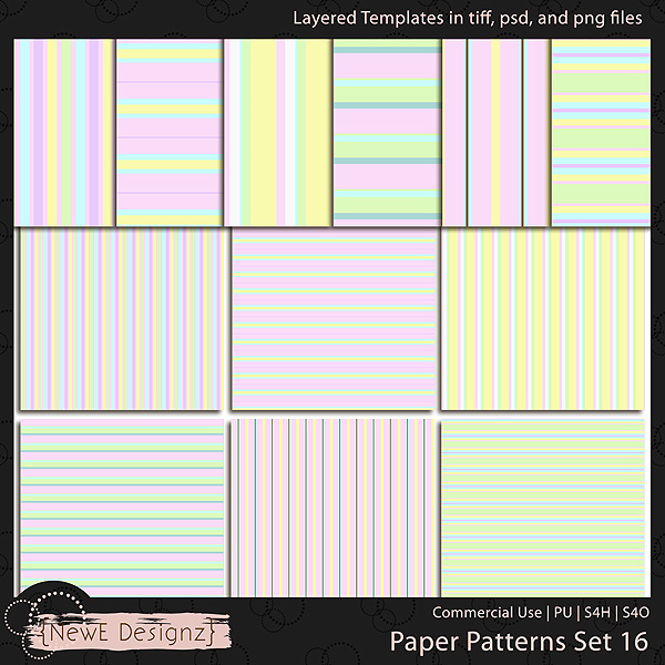 EXCLUSIVE Layered Paper Patterns Templates Set 16 by NewE Designz