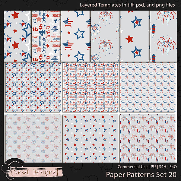EXCLUSIVE Layered Paper Patterns Templates Set 20 by NewE Designz