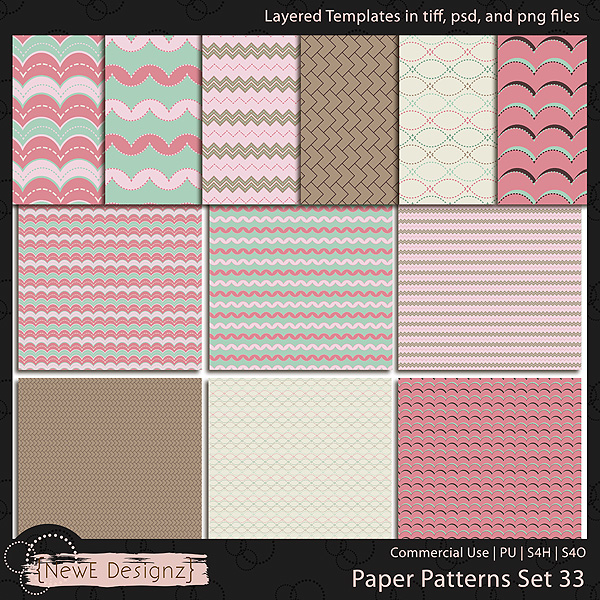 EXCLUSIVE Layered Paper Patterns Templates Set 33 by NewE Designz
