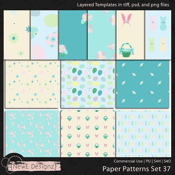 EXCLUSIVE Layered Paper Patterns Templates Set 37 by NewE Designz