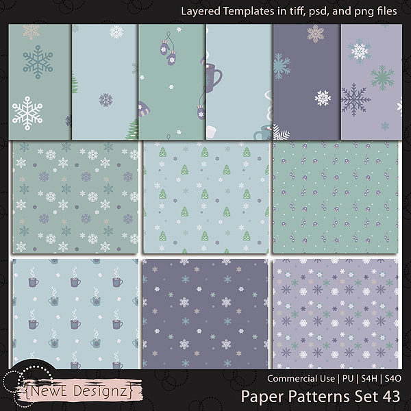 EXCLUSIVE Layered Paper Patterns Templates Set 43 by NewE Designz