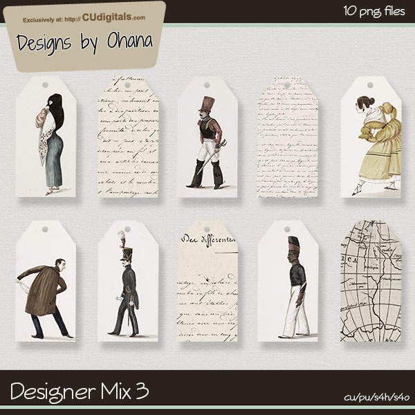Journal Map Tag Mix - EXCLUSIVE Designs by Ohana