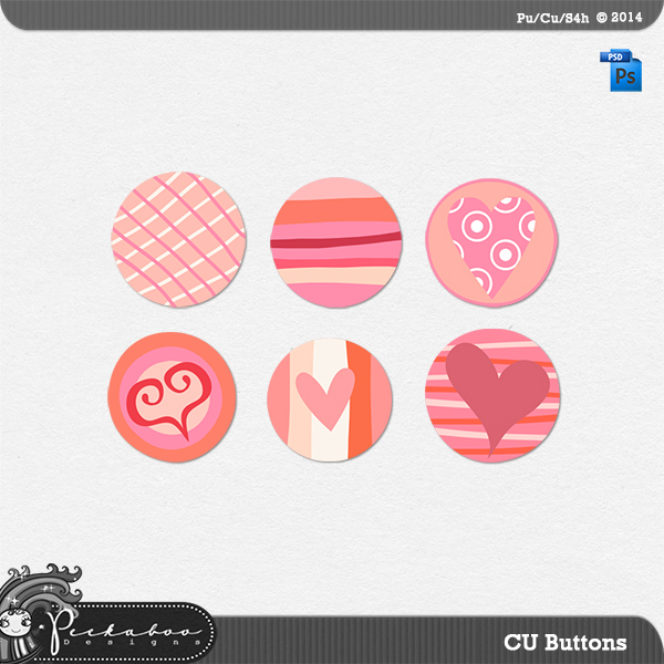Valentine Brad Buttons Layered Template by Peek a Boo Designs