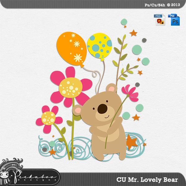 Mr Lovely Bear Layered Template by Peek a Boo Designs