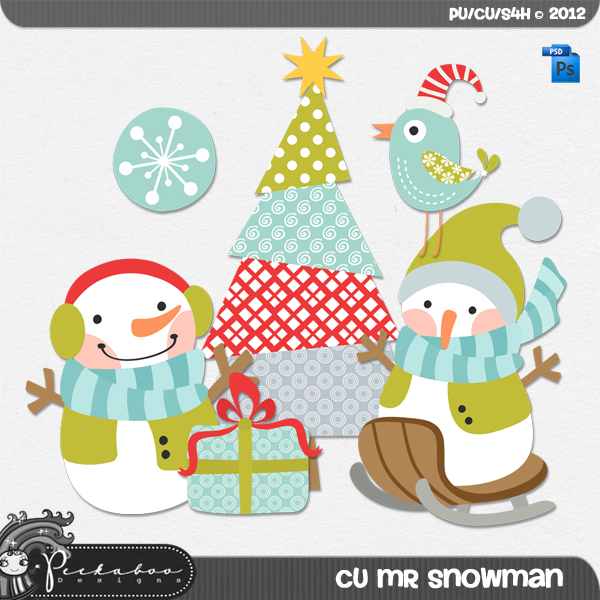 Mr Snowman Layered Template by Peek a Boo Designs
