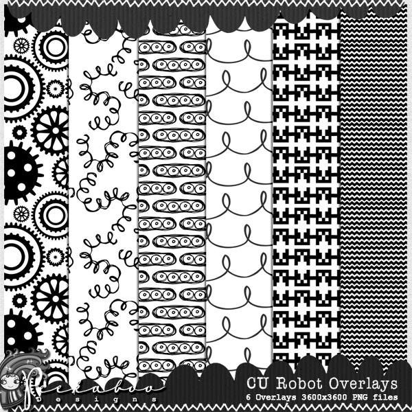Robot Overlay Pattern Templates by Peek a Boo Designs