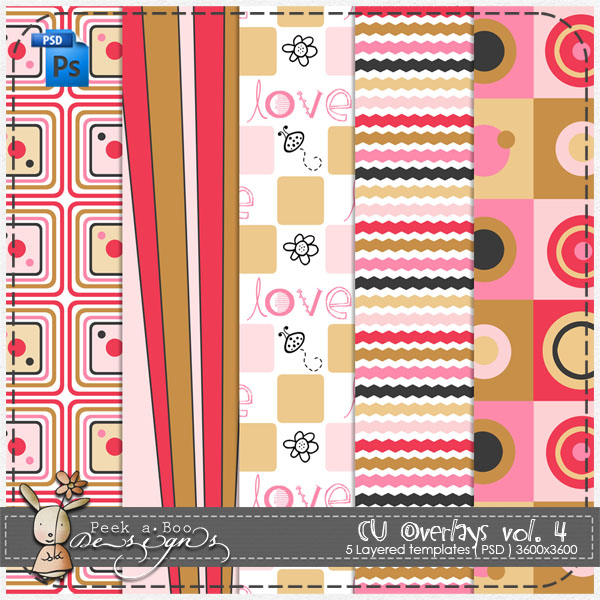 Love Overlay Pattern Paper Template 04 by Peek a Boo Designs