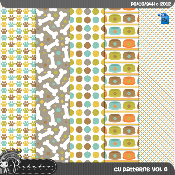 Dog Pattern Template Paper vol 06 by Peek a Boo Designs