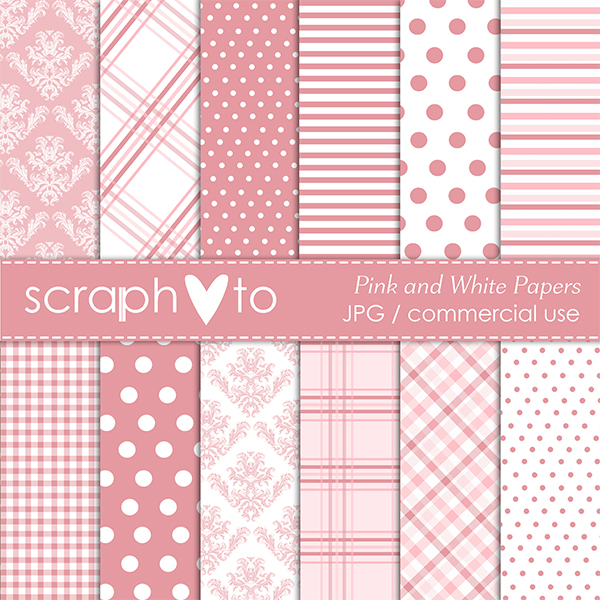Pink and White Papers by Scraphoto Studio