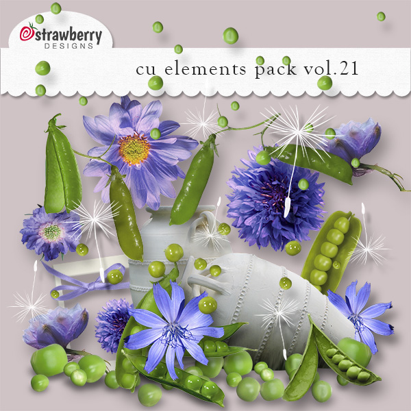 Blue Flowers and Sweet Peas Element Mix Vol 21 by Strawberry Designs