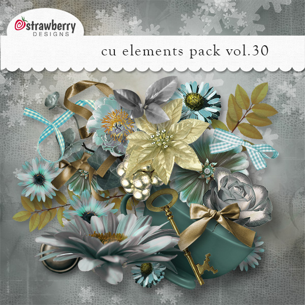 Blue Slilver Gold Flowers Element Mix Vol 30 by Strawberry Designs
