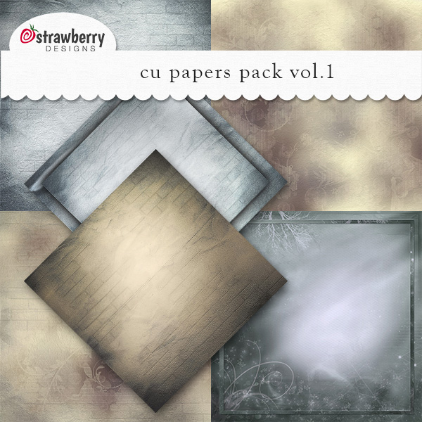 CU Papers Vol 1 Blue - Brown by Strawberry Designs